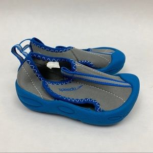 Speedo Hybrid Boys Blue Gray Water Pool Shoes